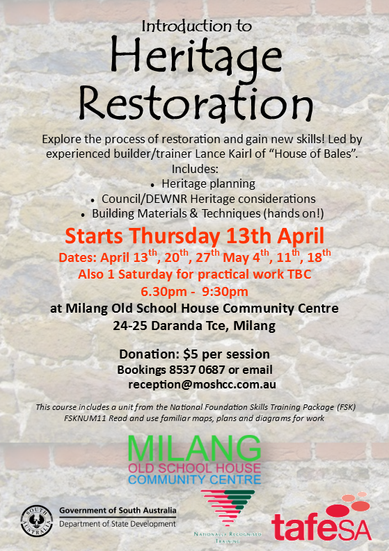 Intro to Heritage Restoration Term 1 2017